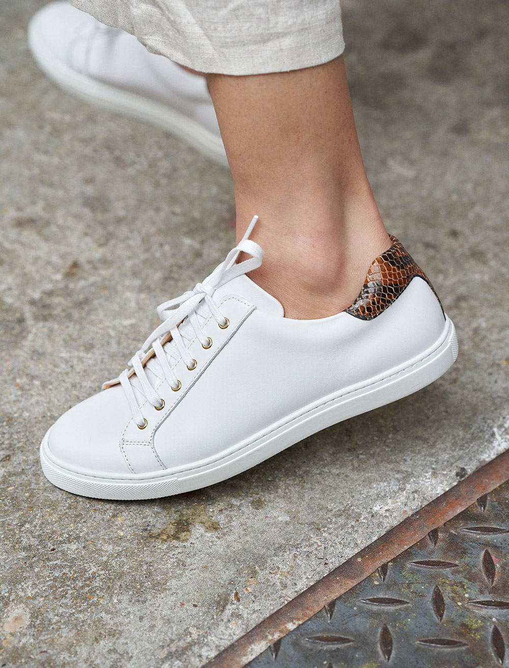 Olivia Sneakers - White and Reptile