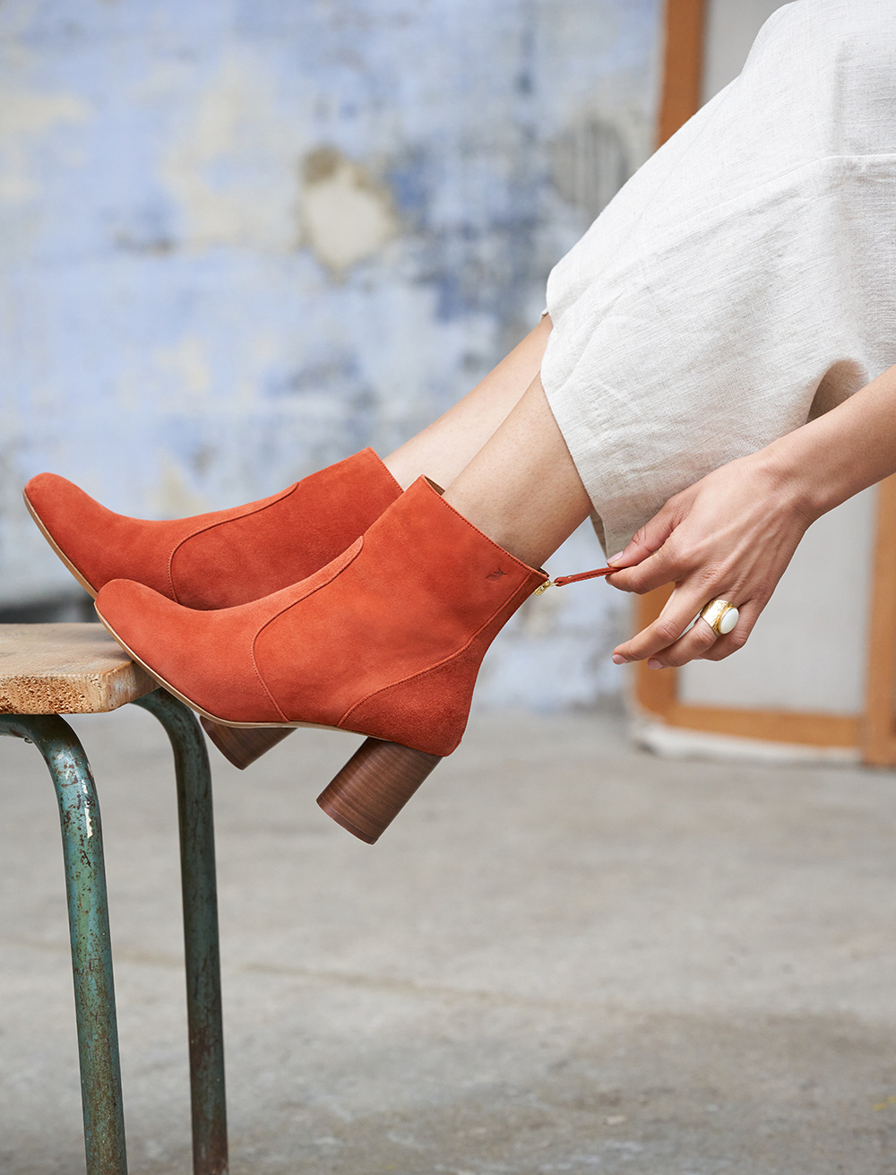 Megan Ankle Heeled Boots - Terracotta