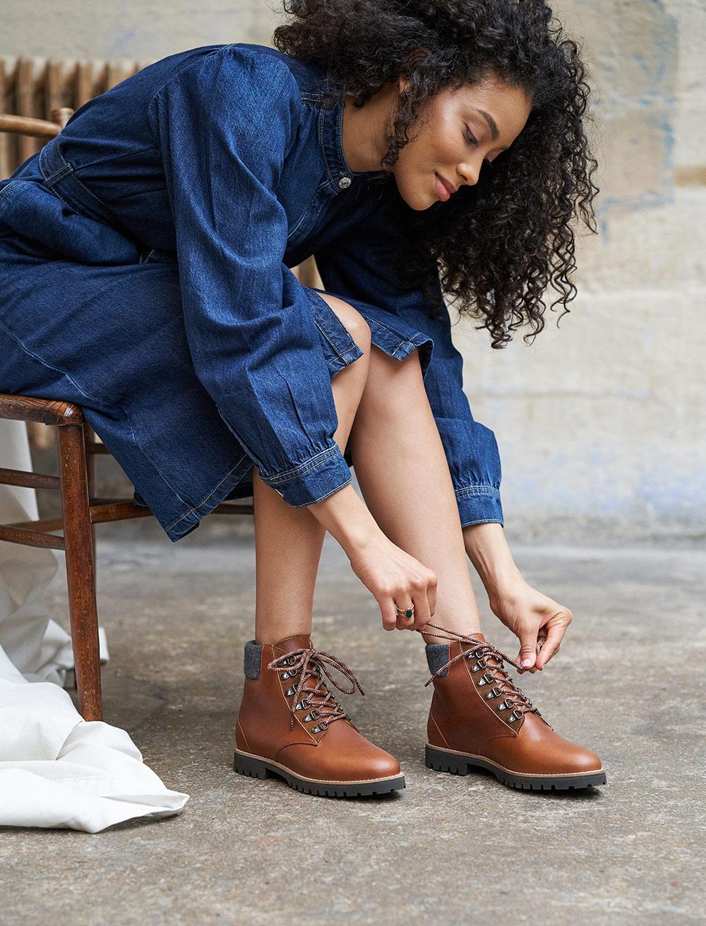 Combat boots Leah - Havana