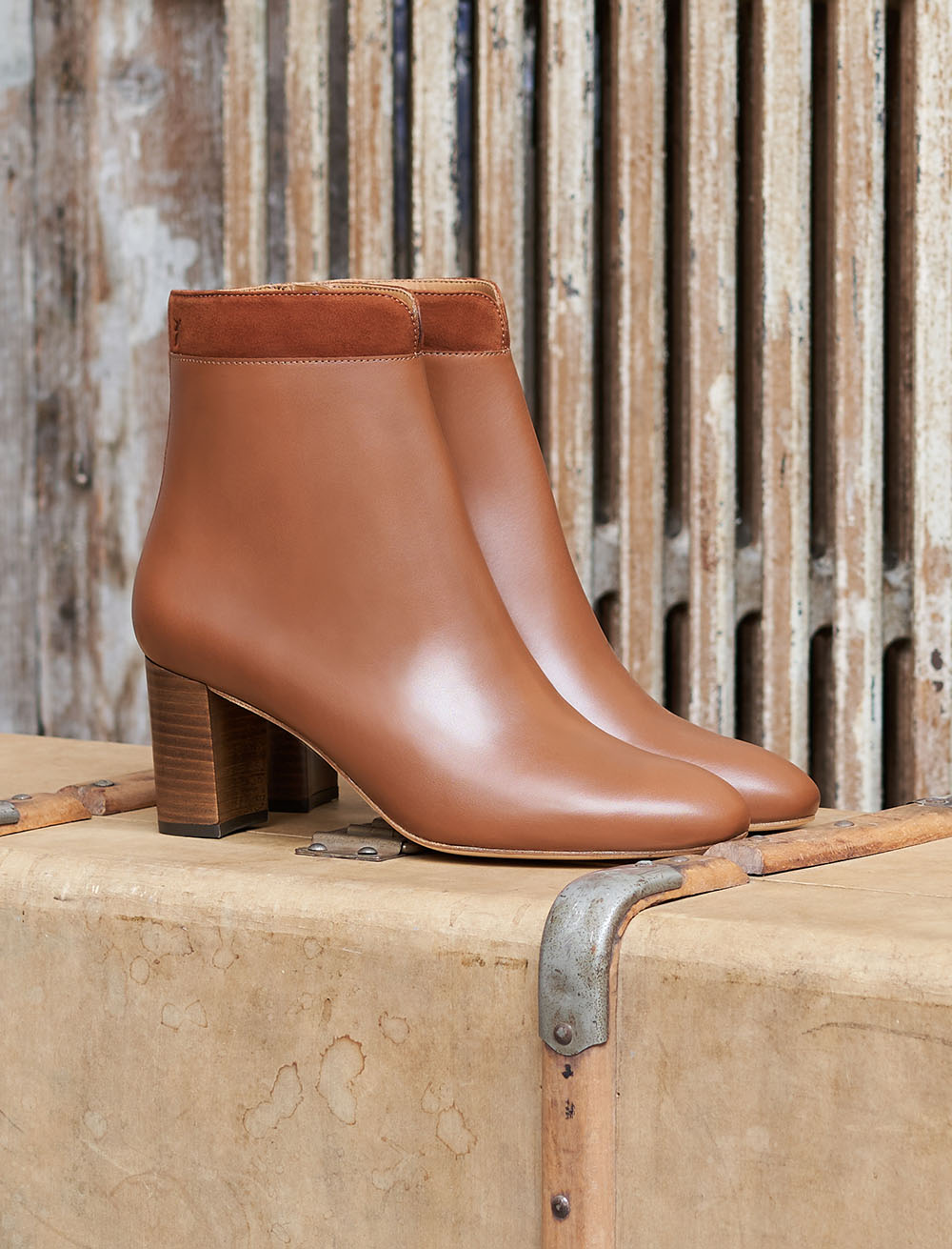 Céline Heeled Ankles Boots - cognac two-material