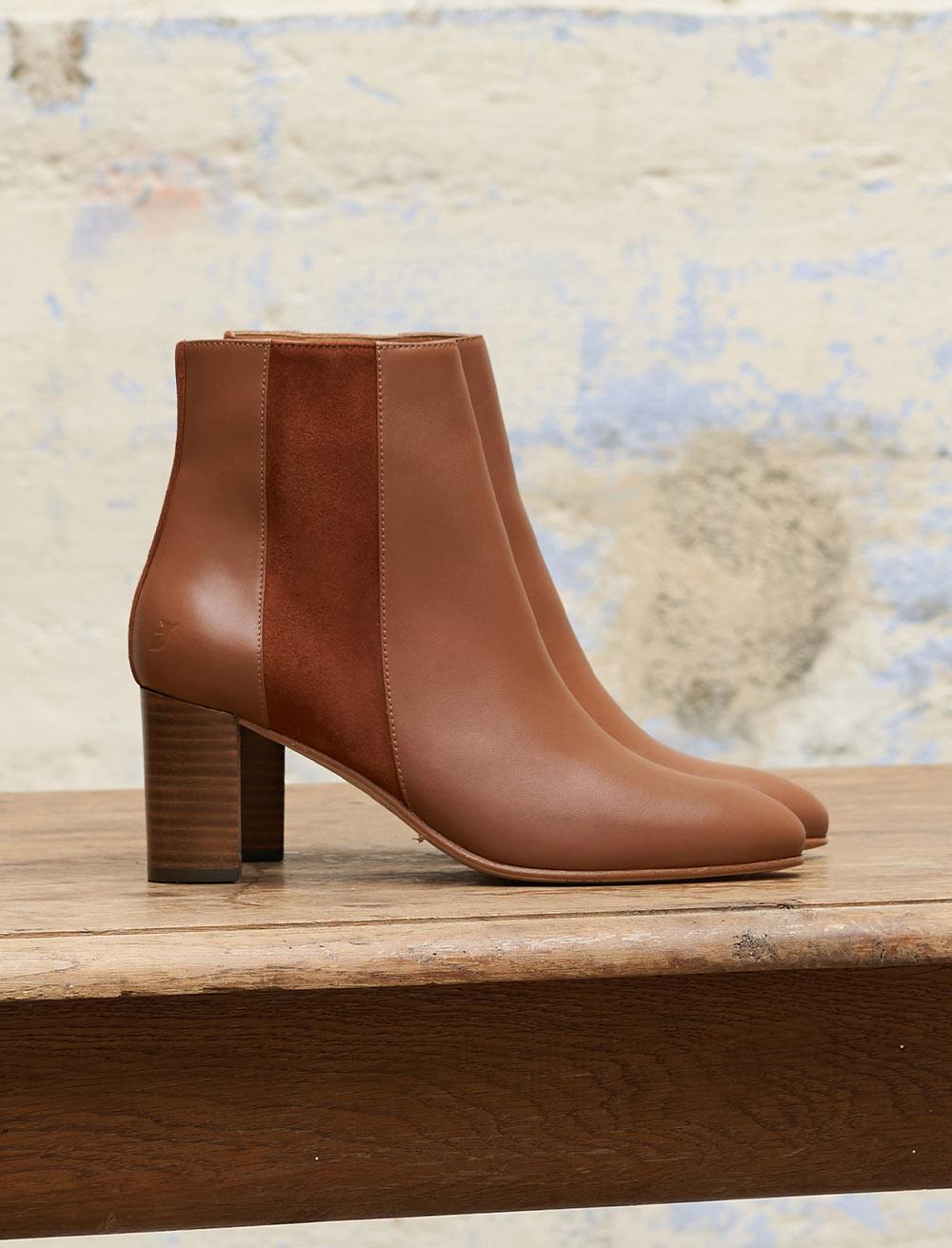 Ankle boots Sophie - Bi-material Cognac