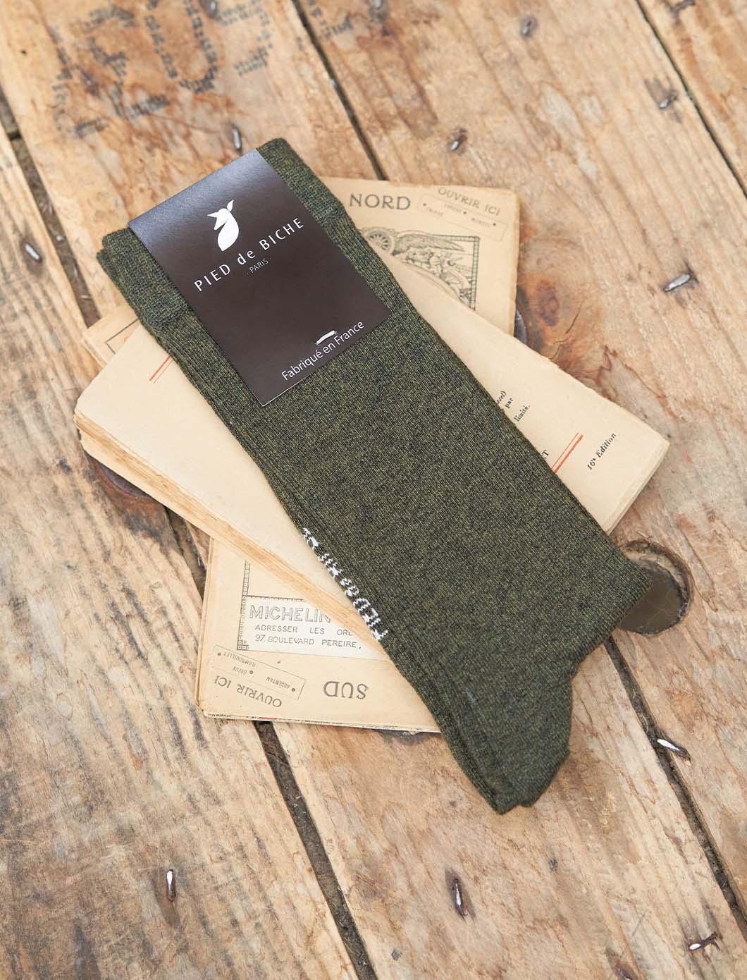 Ribbed Socks - Mottled khaki