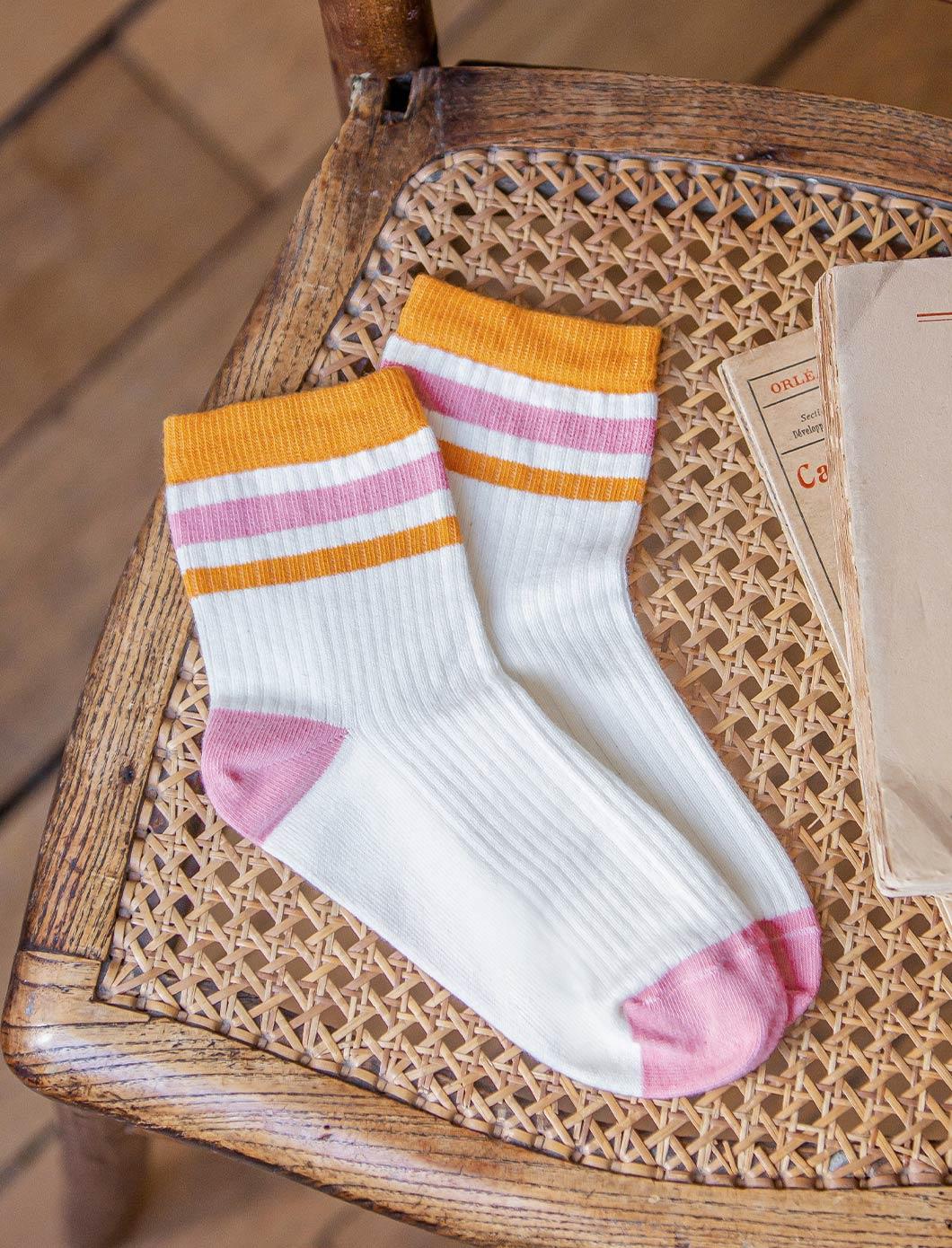 Sport Ribbed Socks - Ecru, Salmon and Mustard