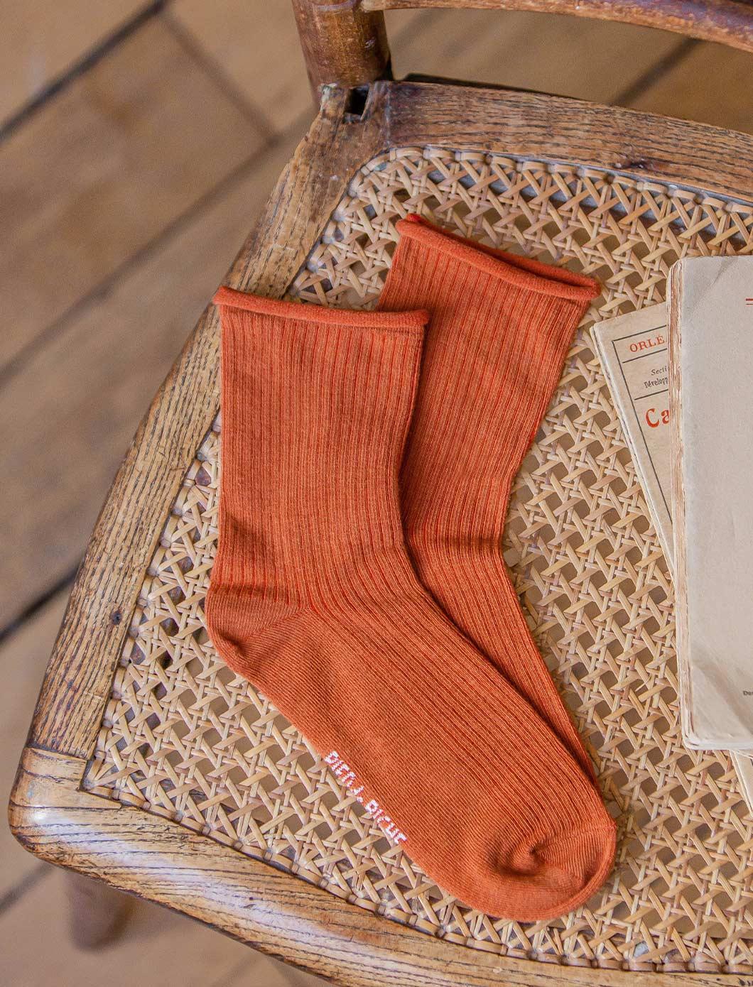 Ribbed socks - Rust Color