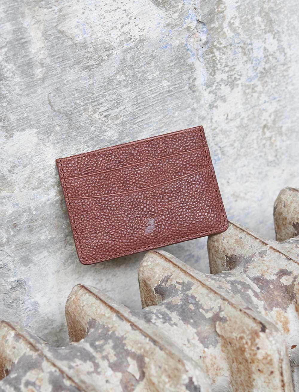 Card holder - grained Cognac