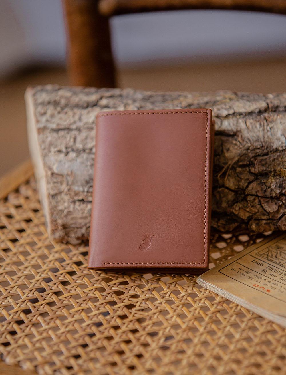 Card holder booklet - Cognac