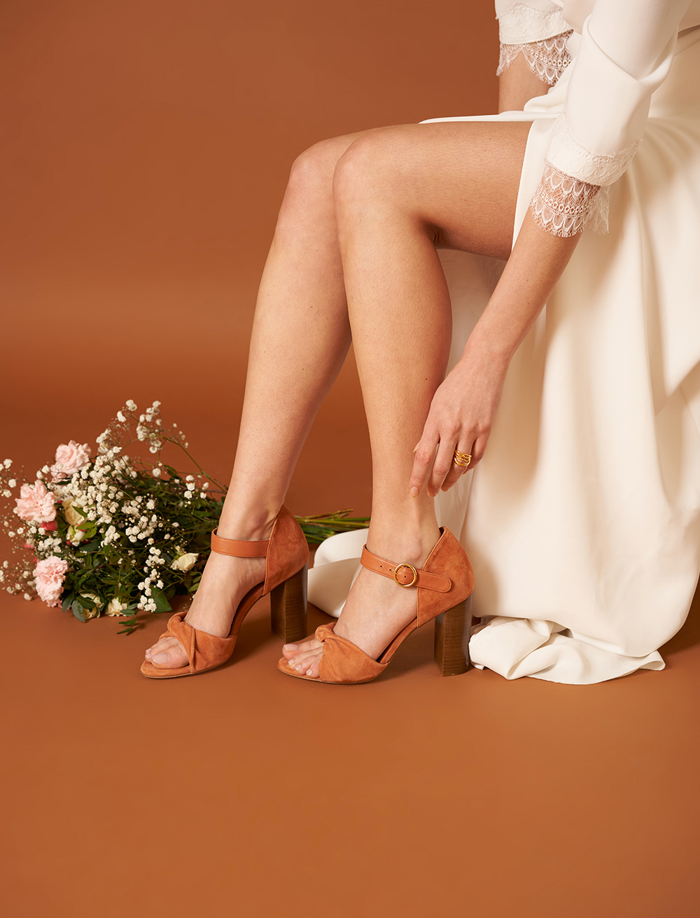 Pia heeled sandals - Papaya
