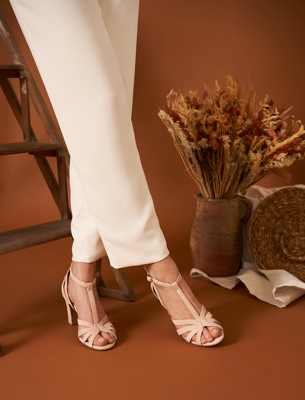 Carmen heeled sandals - Peach