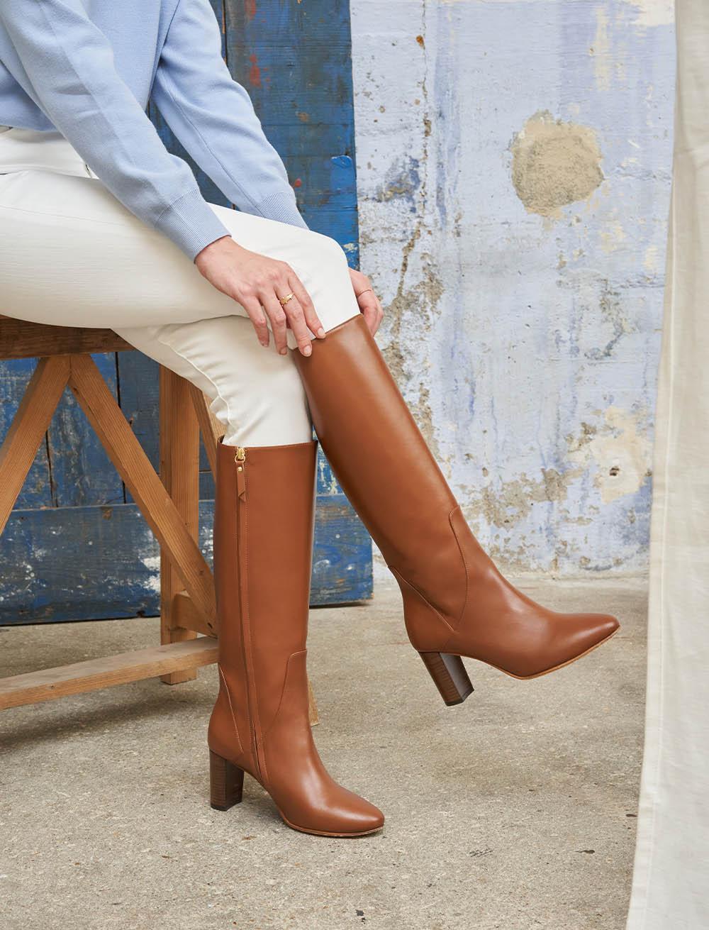 High heel boots Helena - Cognac