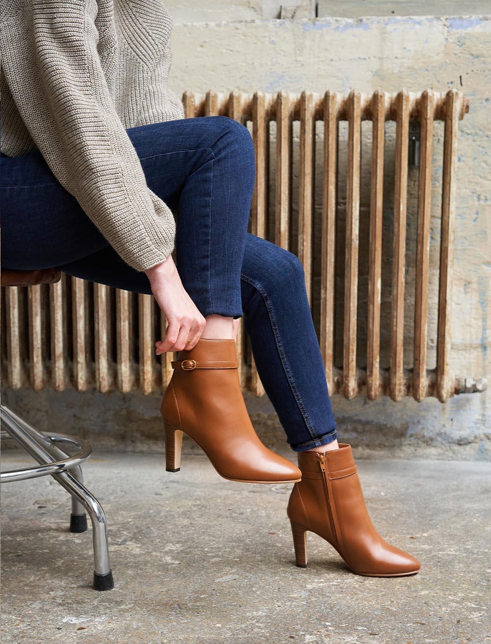 Capucine Heeled Ankle Boots - Cognac