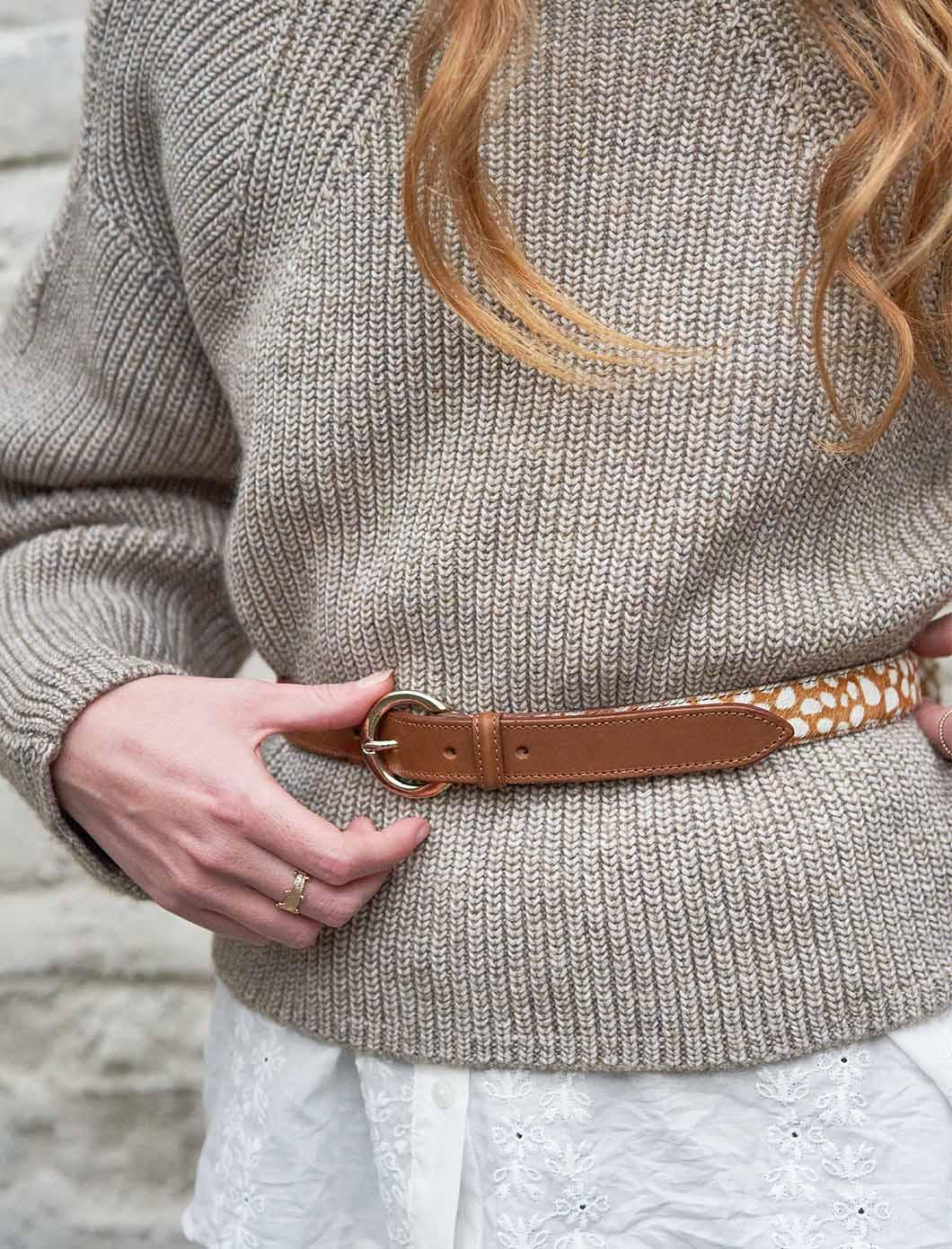 Bi-material belt woman - Cognac and Deer