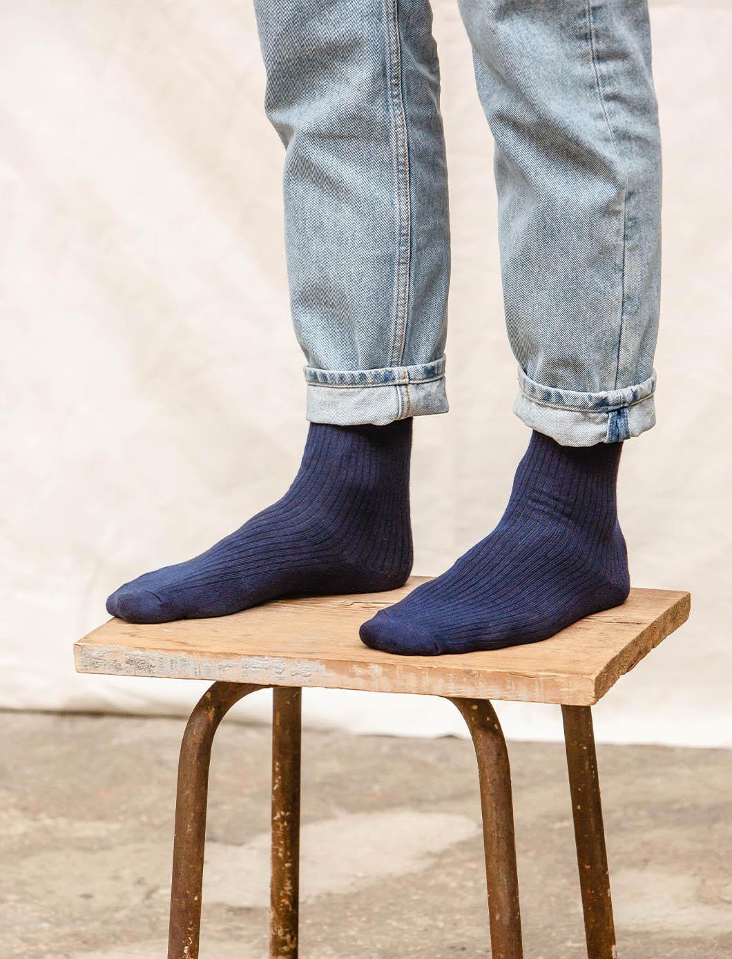 Ribbed Socks - Navy