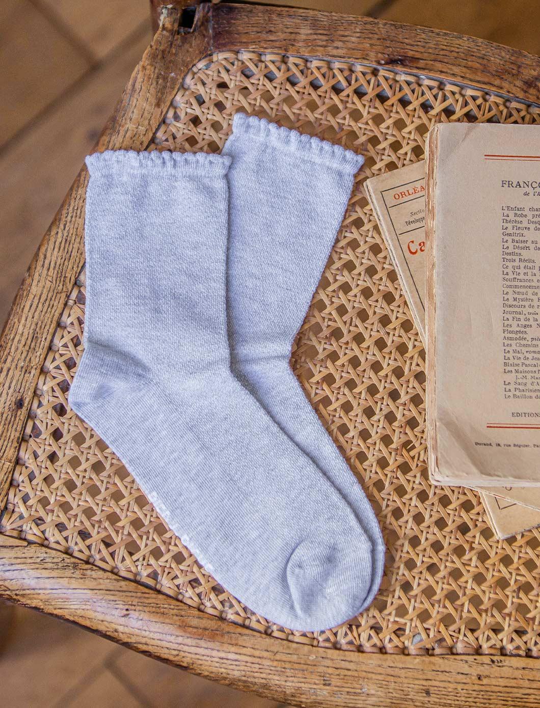 Socks - Grey hemstitch
