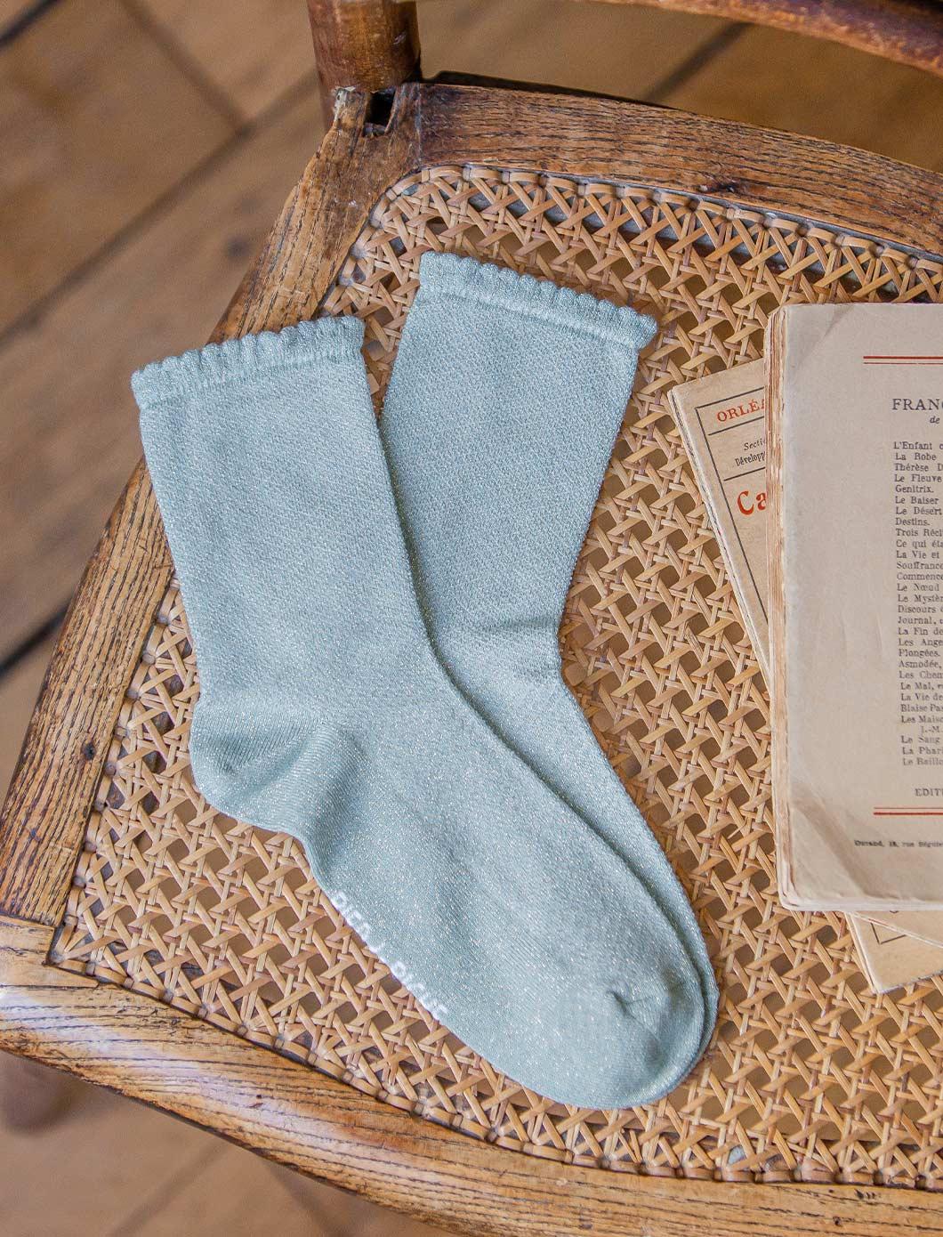 Openwork socks - Water green sequined