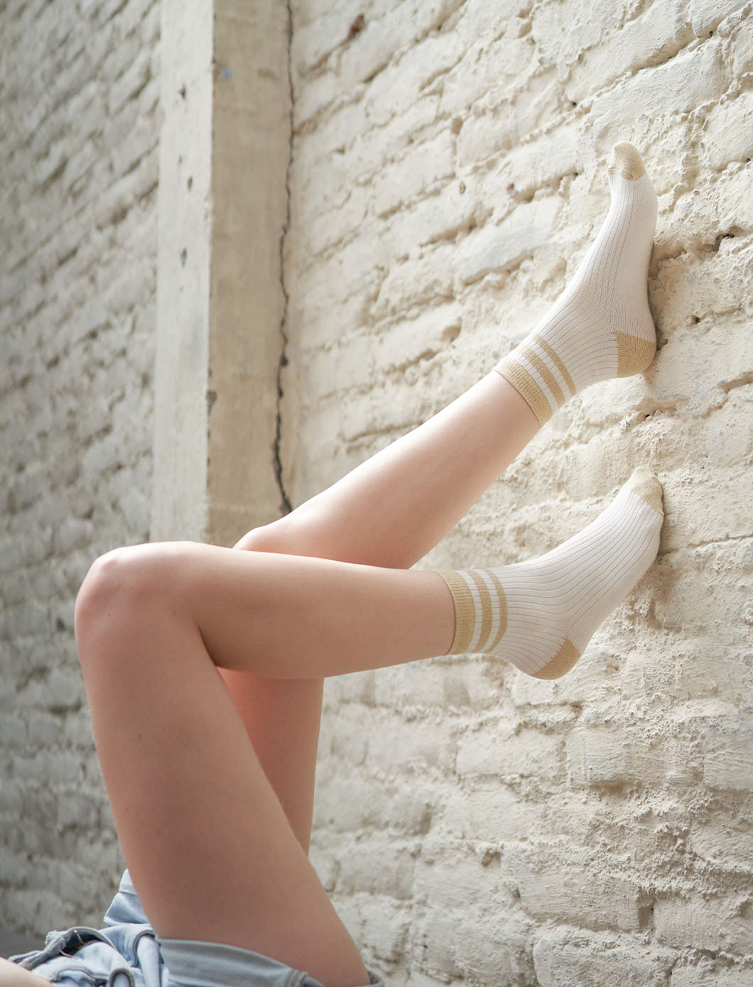 Sport Ribbed Socks - White and Gold