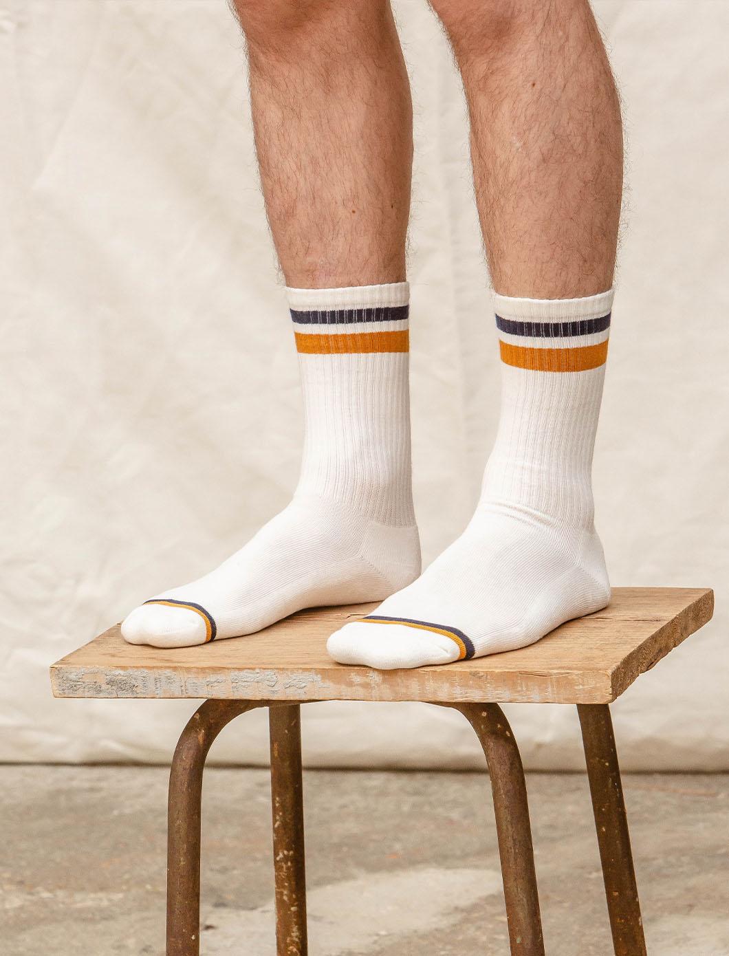 Ribbed Sport Socks - White, Navy and Mustard