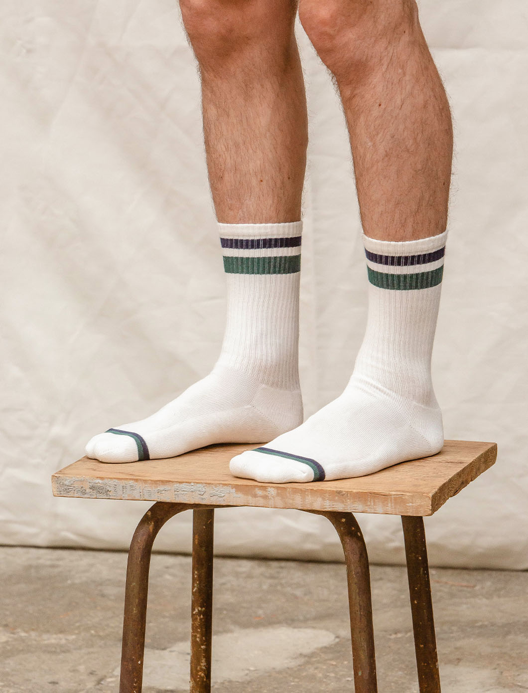 Sport Ribbed Socks - White, Navy and Fir Green