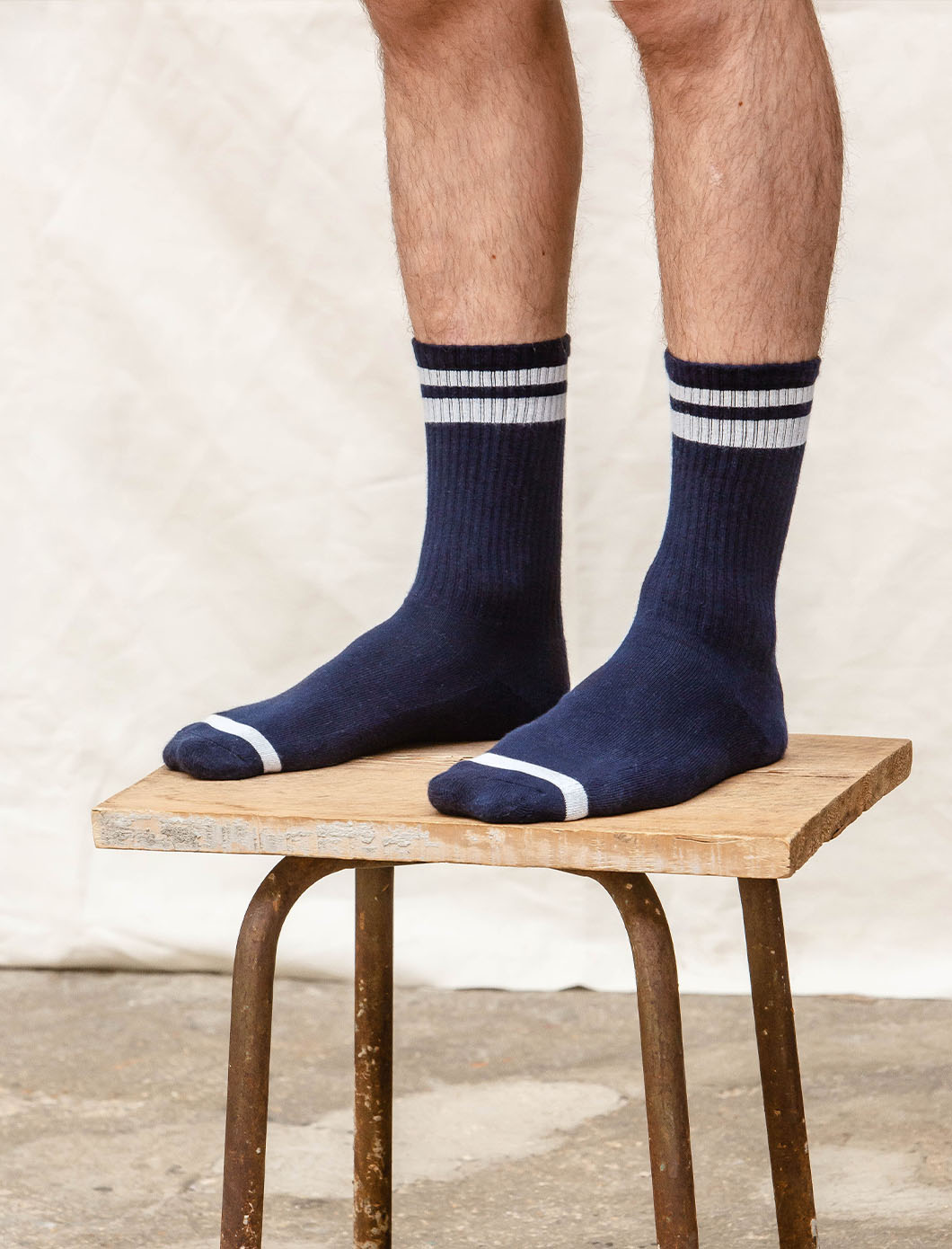 Ribbed Sport Socks - Navy & White