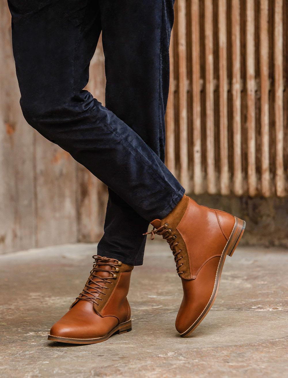 Furred combat boots - Havana