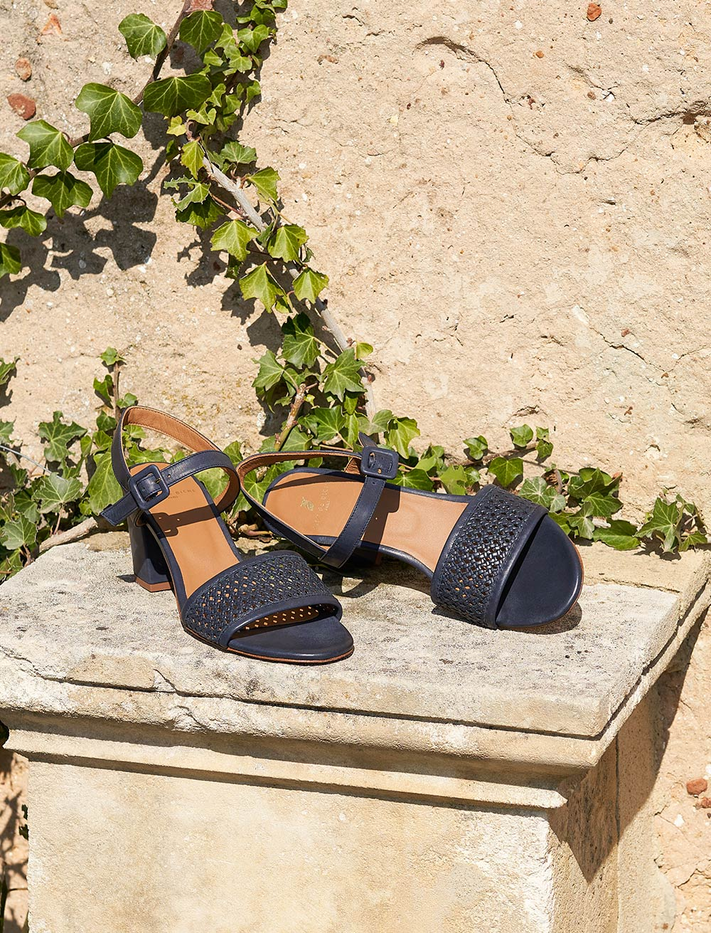 Agathe Sandals - Perforated Navy