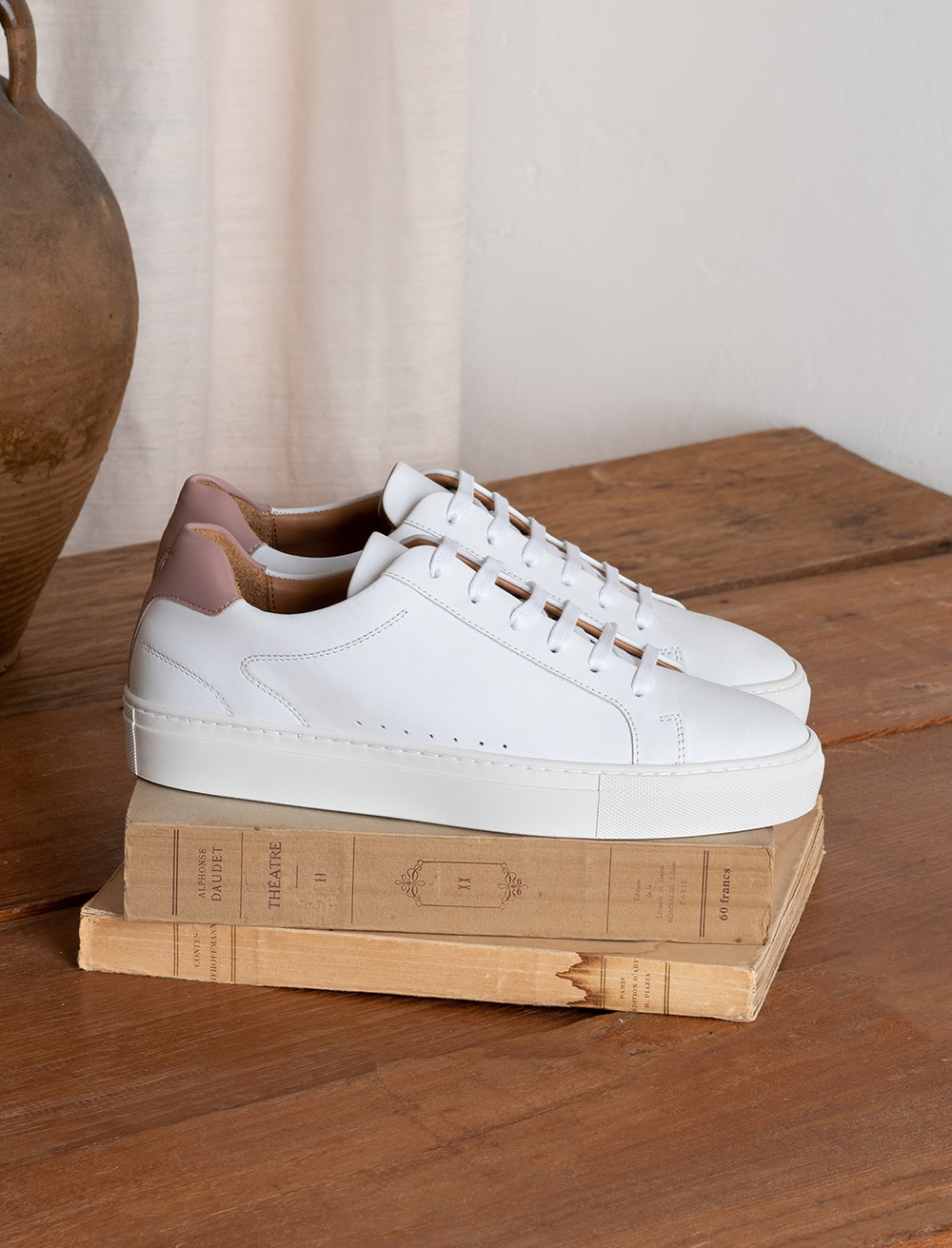 Camille Sneakers - White and dust Pink