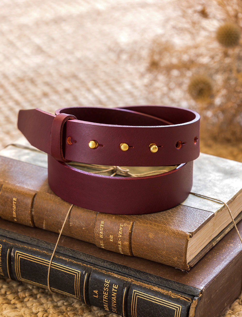 Collar button Belt - Burgundy