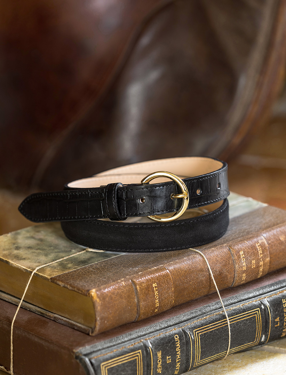 Bi-material belt - Black & croco