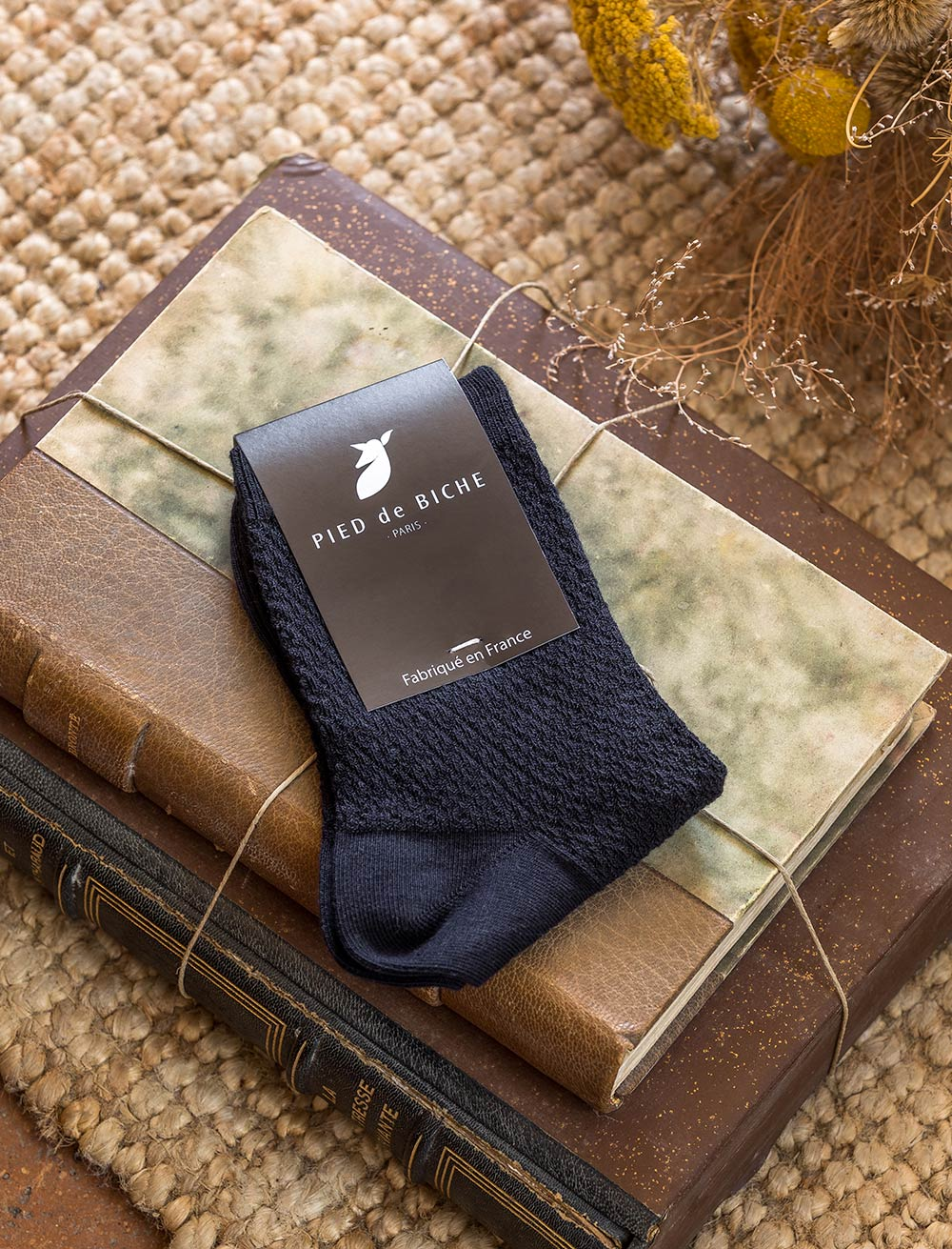 Embossed socks - Night blue