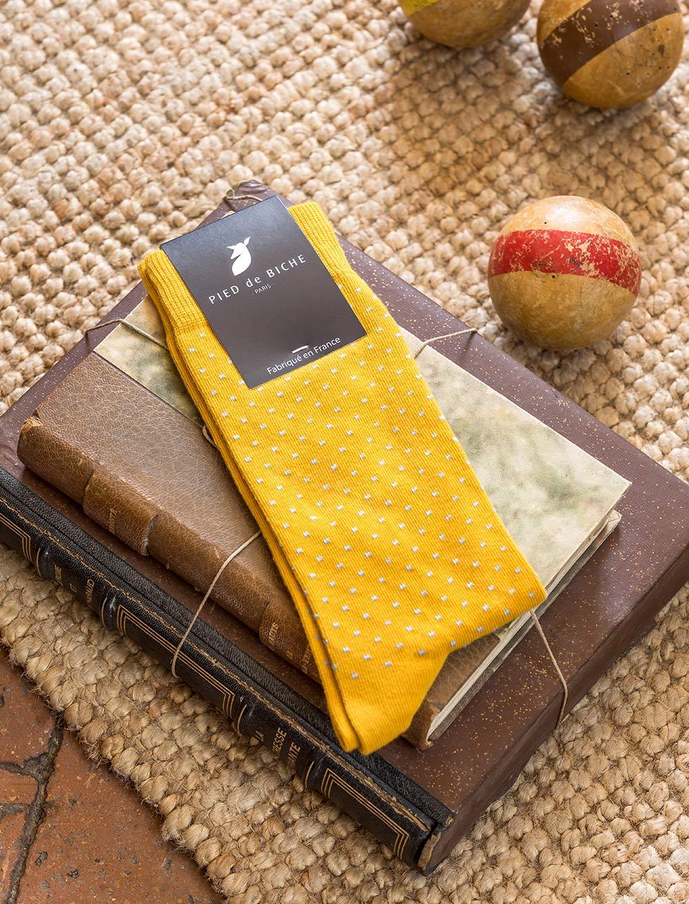Socks - Mustard and Polka dots