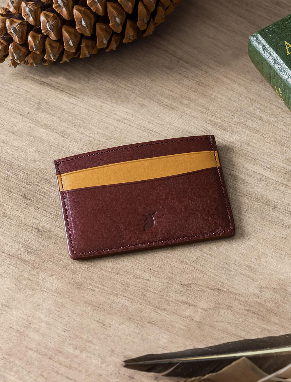 Card holder - Burgundy and Cream