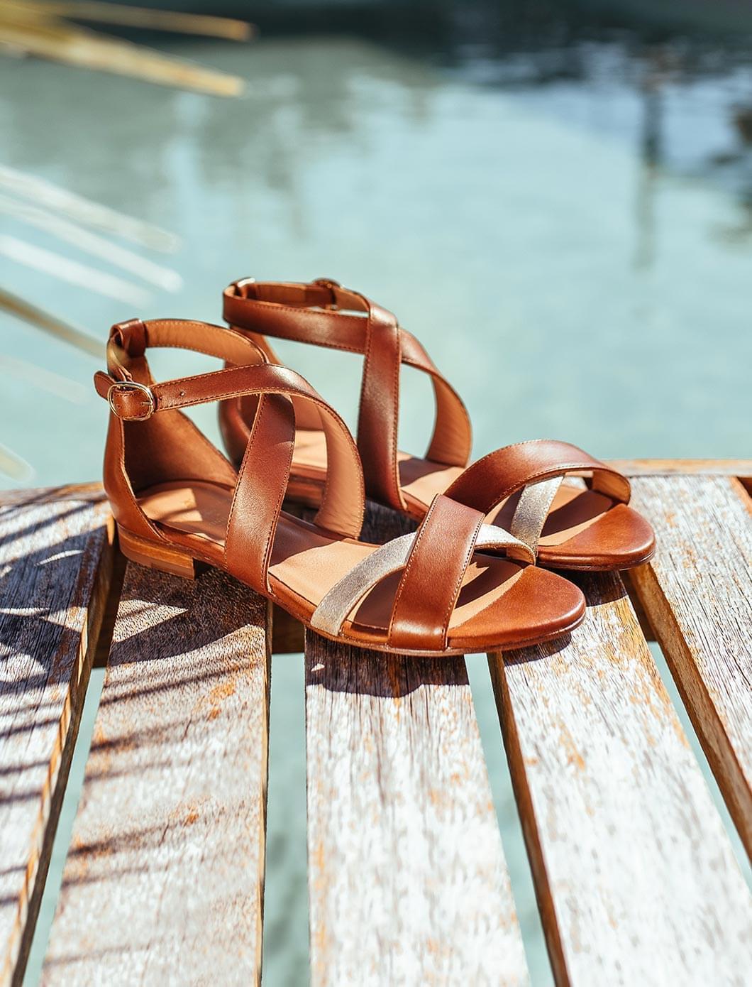 Maradji sandals - Cognac and gold