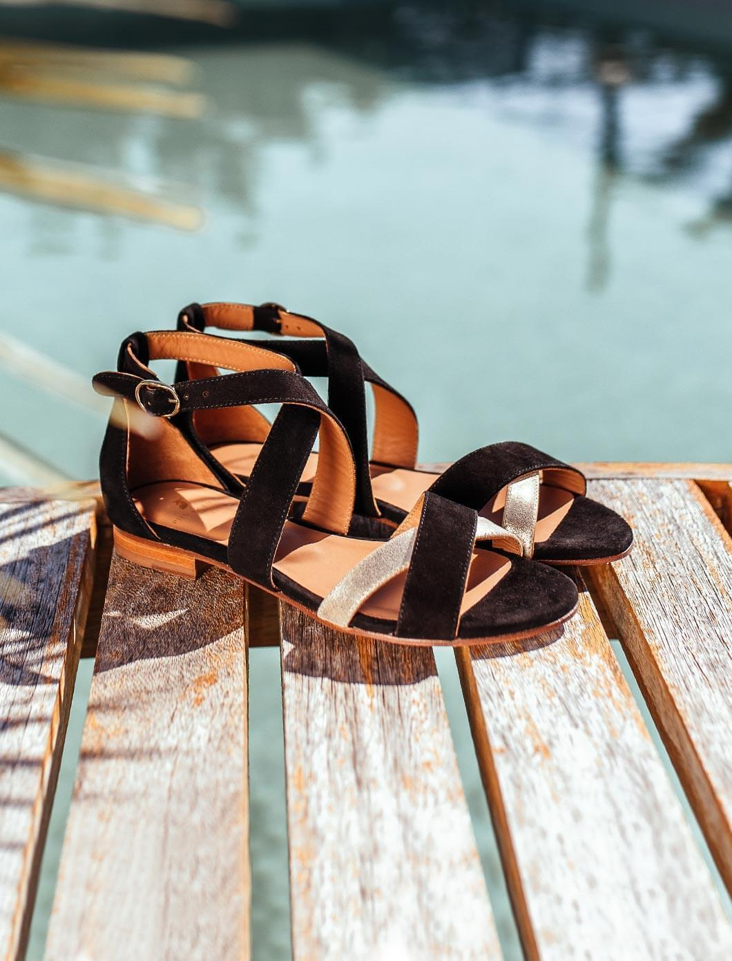 Maradji sandals - Black and gold