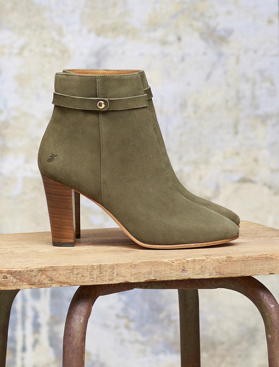 Ysée Ankle Heeled Boots - Khaki
