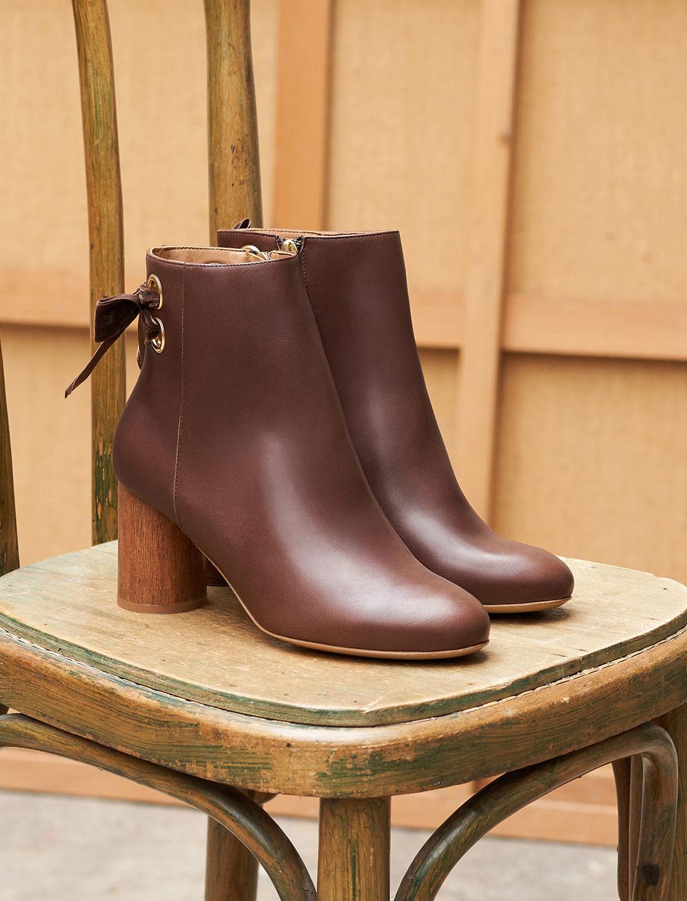 Emma Heeled Ankle Boots - Ebony
