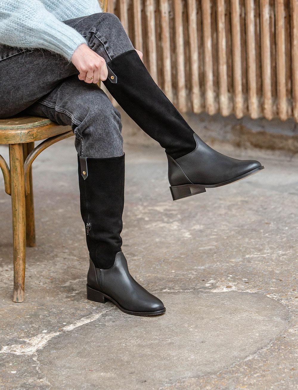 Flat Boots Axelle - Bi-material Black