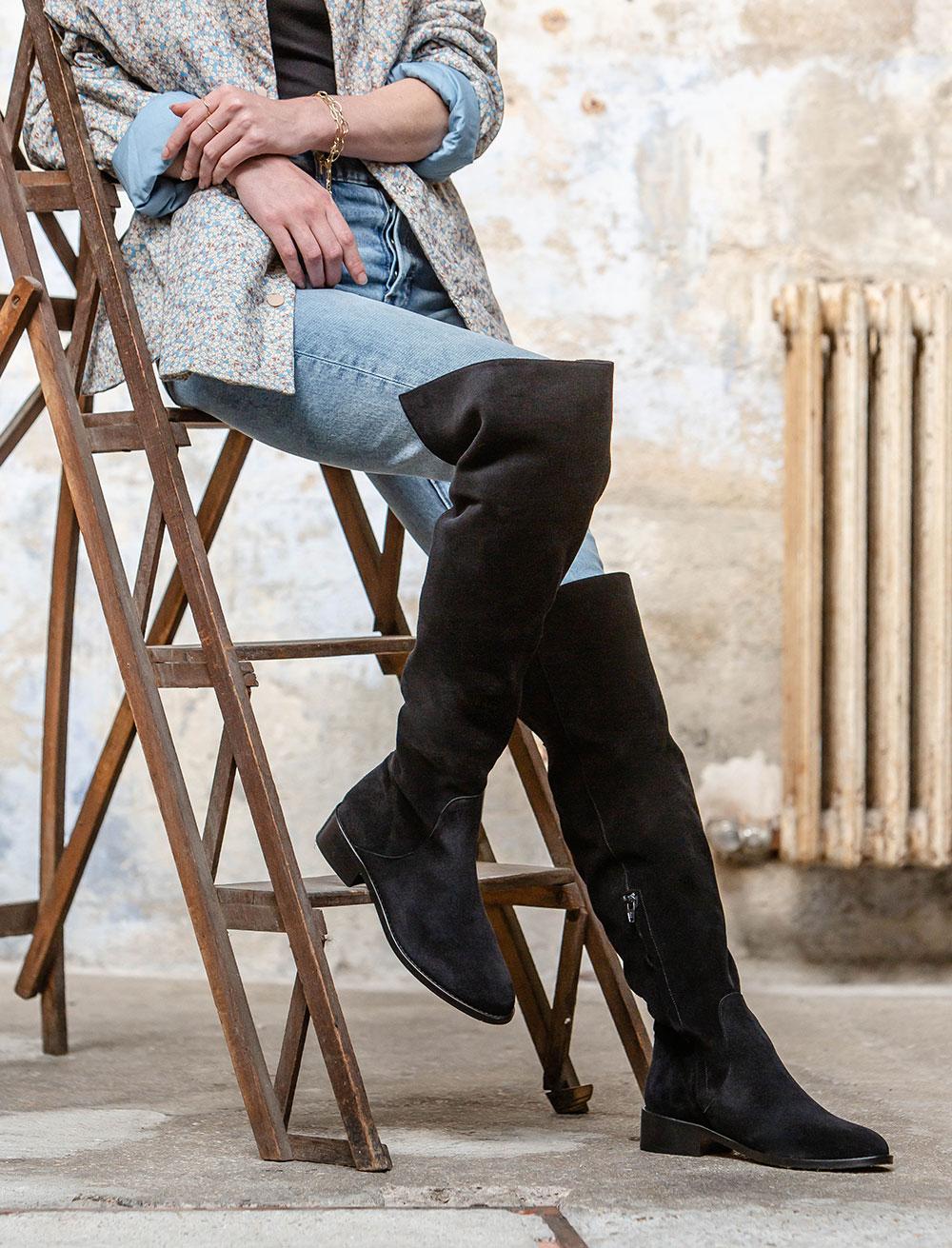 Bruna Flat Waders Boots - Black