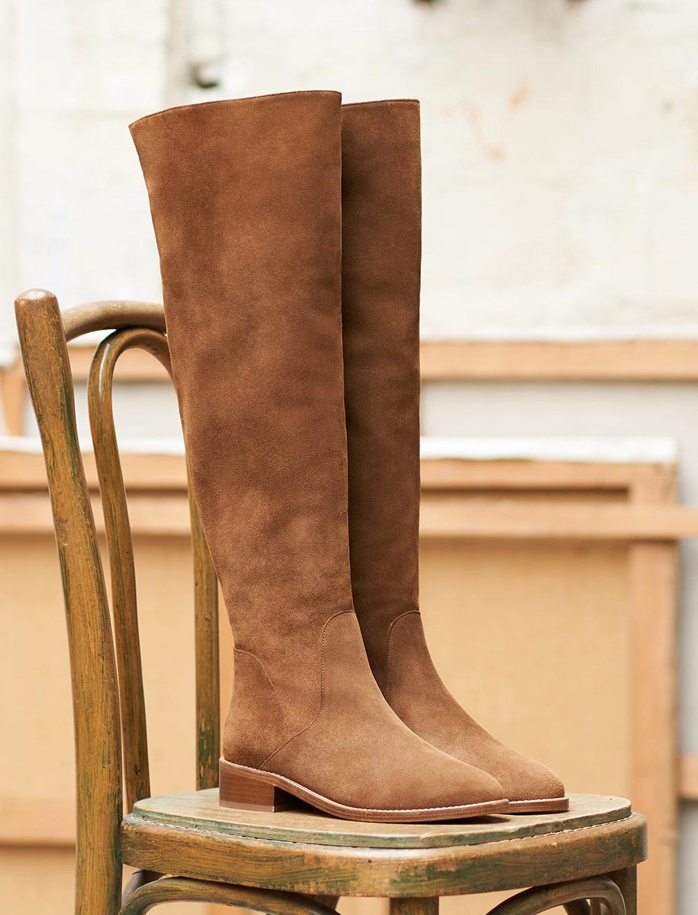 Bruna Flat Waders Boots - Hazelnut