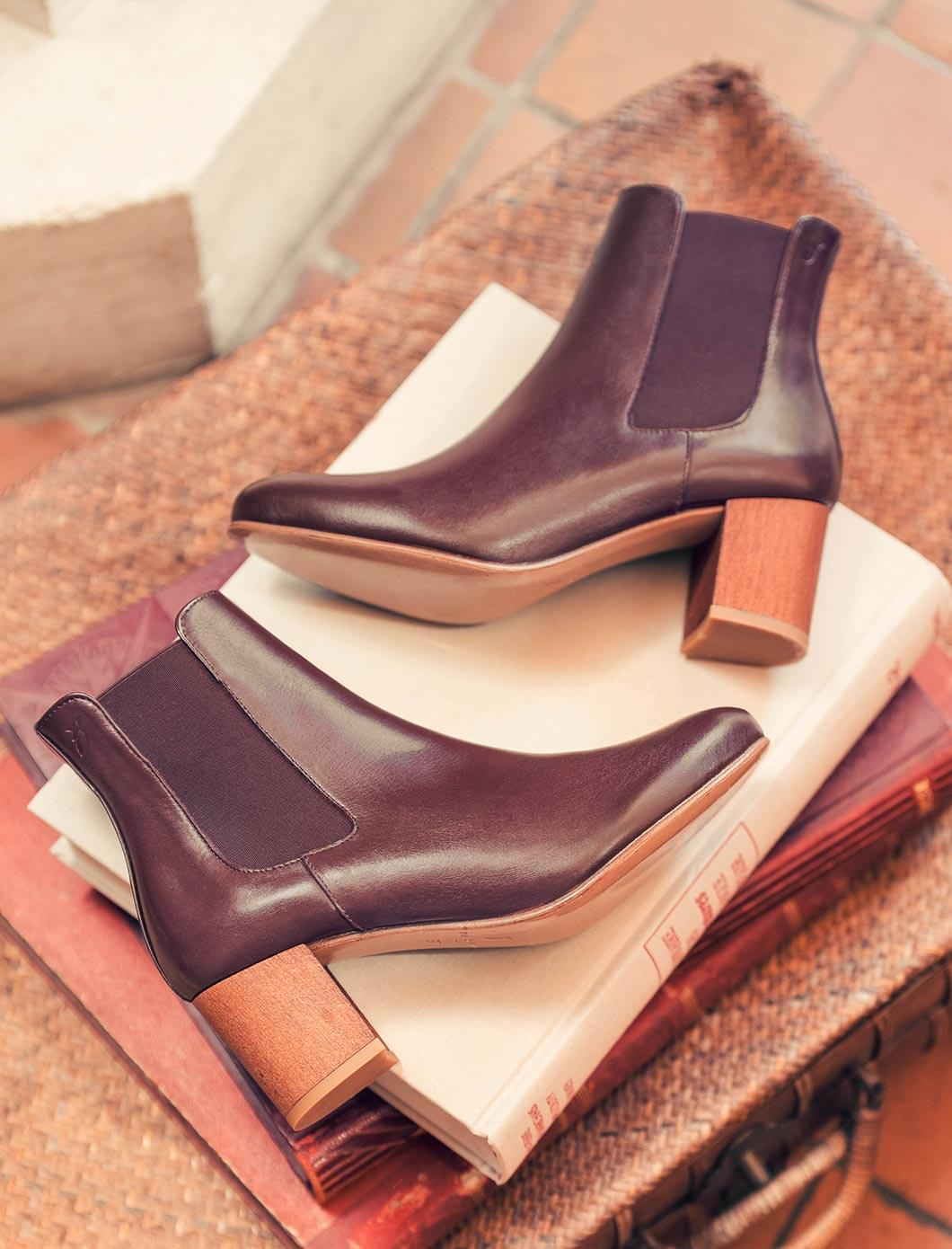 Chelsea heel - Burgundy