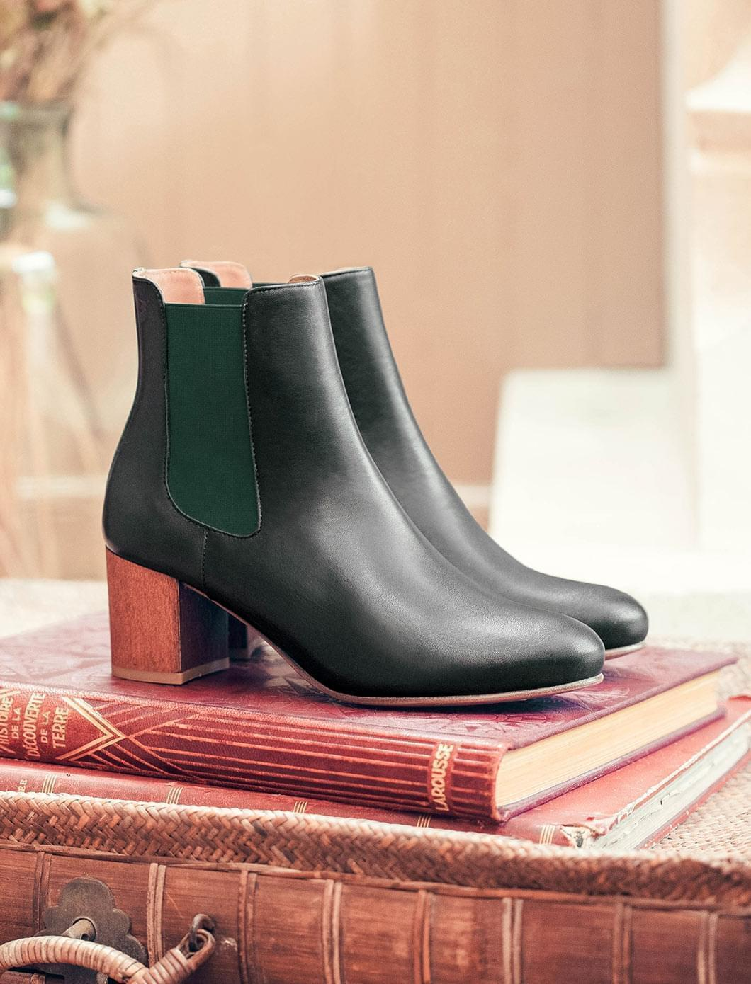Chelsea heel - Black and green