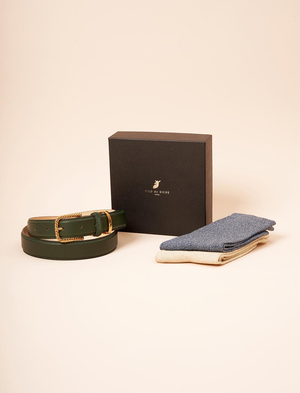 Christmas gift box - Twisted belt and glitter socket