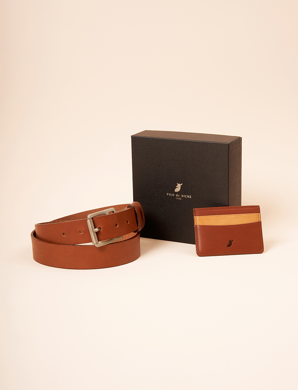 Christmas gift box - Raw belt and a card holder