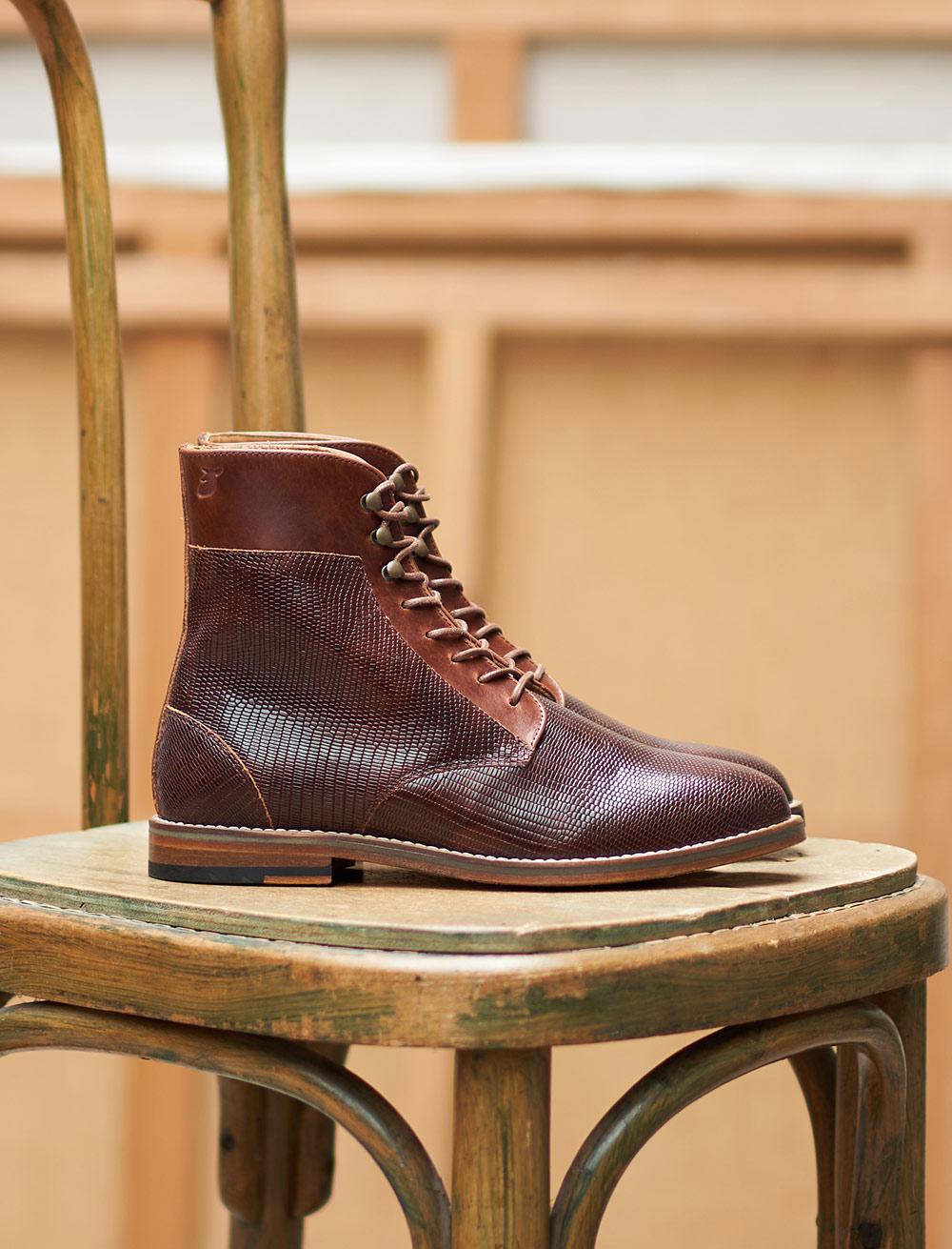 Gabrielle Combat boots - Lizard Mahogany
