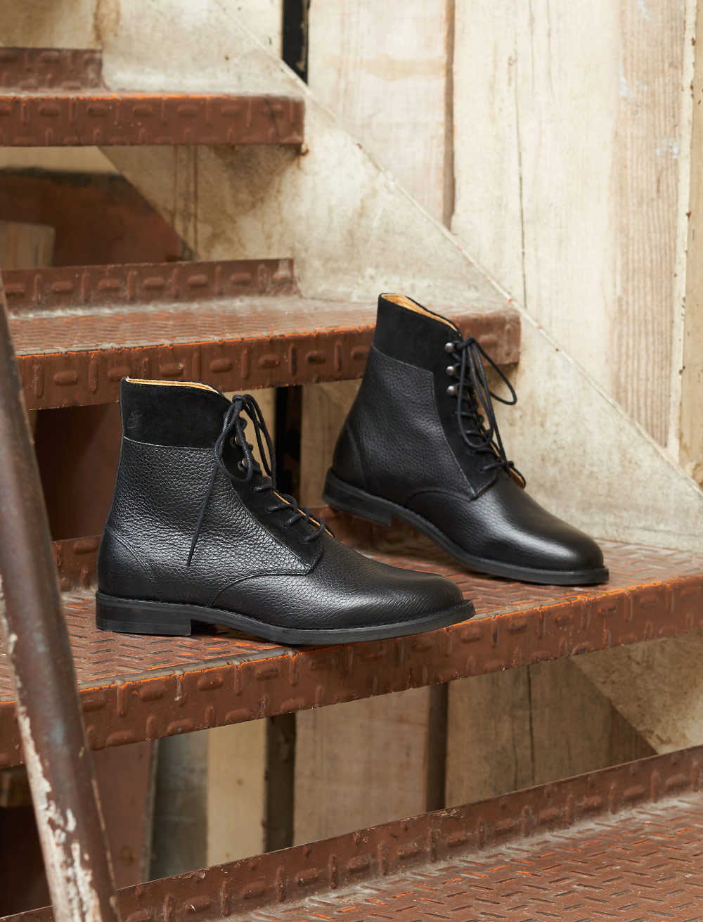 Gabrielle Combat boots - Grained black