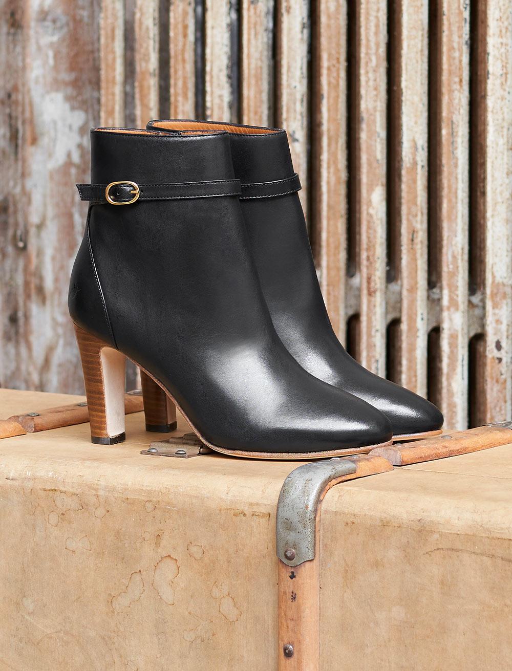 Capucine Heeled Ankle Boots - Black