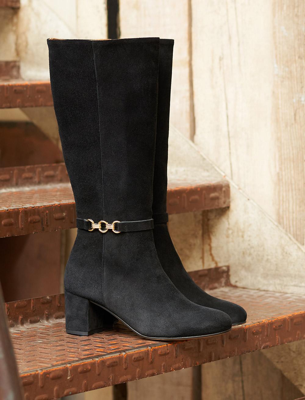 Judith Heeled Boots - Black Velvet