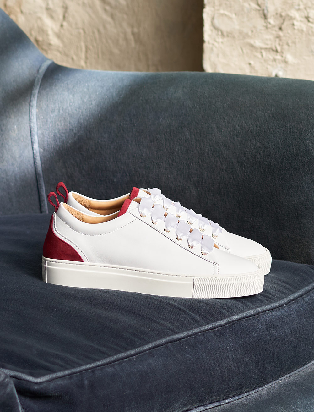 Sneakers Lola - White and garnet