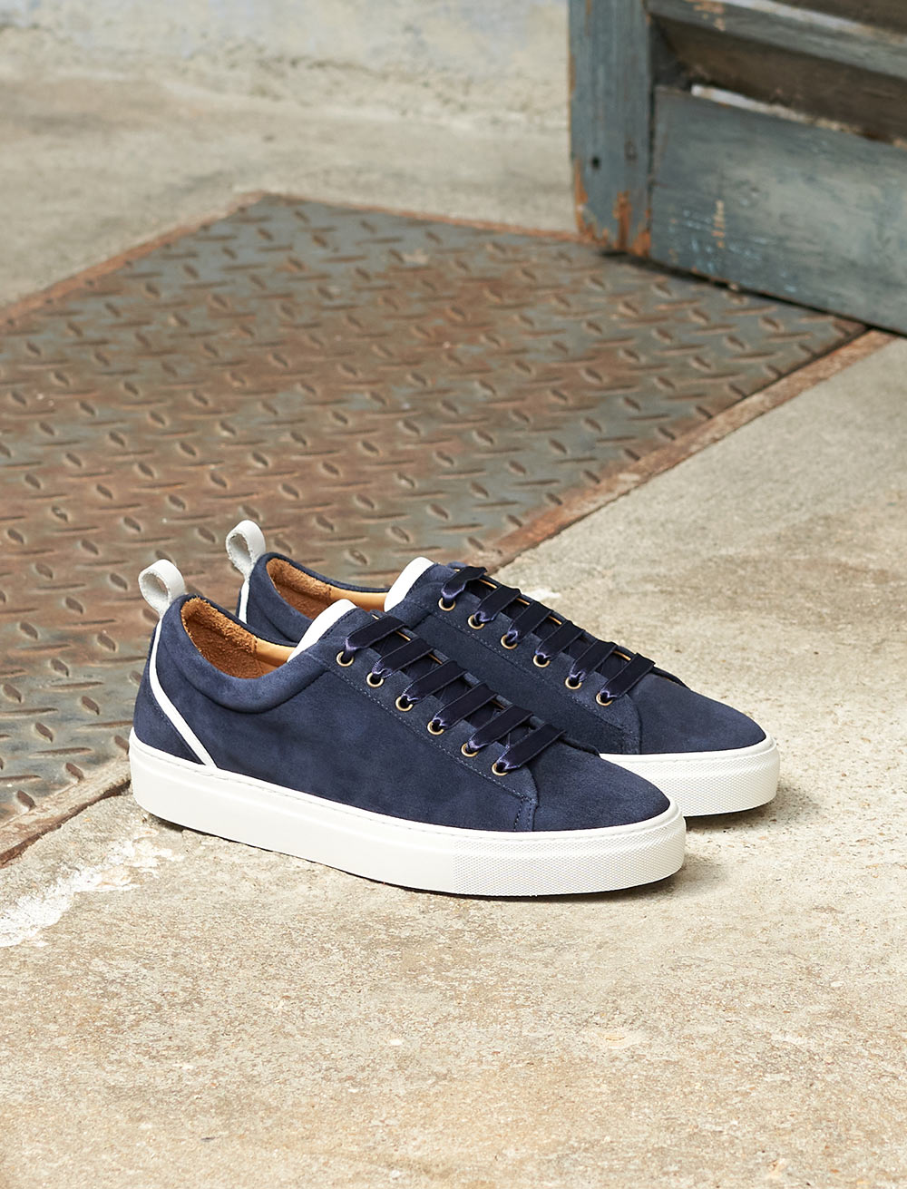 Sneakers Lola - Navy blue and white